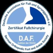 Zertifikat für Fußchirurgie